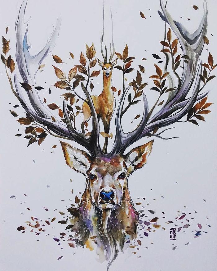 Vízfestékkel rajzolt állatok - Rókavilág.hu